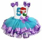 Blue Lavender Satin Trimmed Tutu Number 5 Mermaid Princess Birthday Dress Outfit
