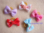 Handmade Pet Grooming Accessories Ribbon Hair Bow Dog gift Rubber Band bows #B6