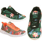 New Womens Ladies Girls Athletic Sports Lace Up Floral Jogging Trainers Shoes
