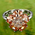 Beauty Flower Oval & Round Cut Morganite Gemstone Silver Ring Size 9 Free Ship