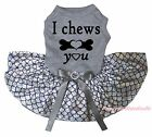 Valentine I Chews You Gray Top Bling Silver Fish Scale Cat Pet Dog Puppy Dress