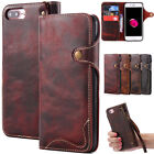 Vintage Genuine Handmade Real Leather Magnetic Flip Case Cover For Iphone 7 Plus