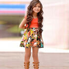 2pcs Fashion Casual Baby Girls Red Short T-Shirt Shivering Floral Skirt Set