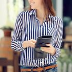 Casual Women Slim Blue White Stripe Chiffon Shirt Long Sleeve OL Tops Blouse AU