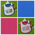 New/NWT~Carters~LITTLE BROTHER+SISTER BIBS~Baby Boys+Girls~twins?~BIB~PINK BLUE