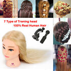Premium Hairdressing Training Practice Mannequin Head 100% Remy Human Hair Clamp