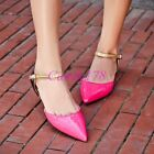 Vogue Fashion Womens Pointy Toe Casual Strap Flats Breath Patent Leather Shoes