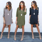 Women V-Neck Short A-Line Summer Dress Solid Plus Size Chiffon Casual Dress