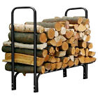 4' / 8 ' US Outdoor Heavy Duty Steel Firewood Log Rack Wood Storage Holder Cover