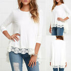 Womens Lady White Loose Long Sleeve Blouse Casual Fashion Short Lace Shirt Tops