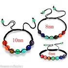 Womens Mens Natural Stone Multicolor Chakras Braided Yoga Bracelet Wristband
