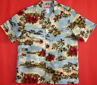 Red Hibiscus Escape Men's vintage RJC aloha Shirt  made in Hawaii