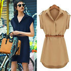 Summer Womens Shirt Dress Chiffon Ladies T Shirt Casual Loose Short Dresses Tops