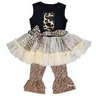 Number 5 Black Leopard Ruffled Top Pants Set Birthday Outfit