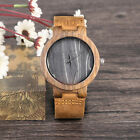 Unisex Vintage Quartz Bamboo Wooden Watch Leather Band Simple Watch Gift