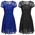 New Fashion Women Short Sleeve O-Neck Sexy Lace Mini Dress B20E