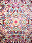 Multi-Color Geometric Modern Area Rug Abstract Squares Triangles Distressed Rug