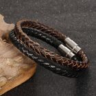 Unisex Mens Braided Leather Wrap Stainless Steel Magnetic Clasp Bracelet  Bangle