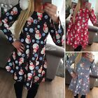 Womens Long Sleeve SNOWMAM Christmas Party Swing Xmas Skater Flared Tunic Dress