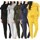Ladies Long sleeve Frill Detail Top&Jogger WomenS Viscose Lounge Wear EN24H