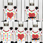 Hot Red Rainbow Hearts Valentine Sparkle Mustache Heart Print Girl Top NB-8Year