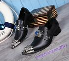 British Style Mens Dress Formal Shoes Pointy Toe Real Leather Slip On Fashion Sz