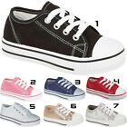 Boys Girls New Canvas Lace Up Toddlers Infants Casual Trainers Pumps Shoes Sizes