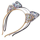 Womens Metal Rhinestone Cat Ear Headband Hairband Costume Fancy Cosplay