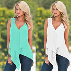 Summer Ladies Casual Sleeveless V-neck Chiffon Vest T Shirt Blouse Loose Tops