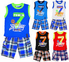 Boys Power 7 Vest Top & Check Combat Shorts Set 2 to 14 Years CLEARANCE SALE