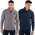Kangol Mens King Plus Size Funnel Neck Knitwear Branded Winter Jumper 2XL-5XL