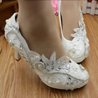 5cm / 8cm/11cm heel white Pearls crystal lace Wedding shoes Bridal shoes size
