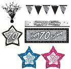 BLACK & SILVER - Age 70 - Happy 70th Birthday PARTY ITEMS Decorations Tableware