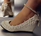 Women Lace white crystal Wedding shoes Bride flats high heel wedges size 5-10