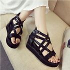 Punk Womens Summer Sandals Hollow Out Strappy Buckle Platform Wedges Beach Shoes