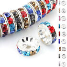 50/100 Pcs Silver Plated Czech Crystal Spacer Rondelle Beads Charm Findings 8mm