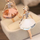 Hot Sale Cute Girls Ballet Dancer Pendant Crystal Ballerina Long Chain Necklaces