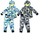 Boys Baby Toddler Army Camo Pixel Neon Trim Hoody Tracksuit 3 Months to 4 Years