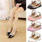 Women's 2017 Summer Studded Rivet Metal Flats Pointed Toe Shoes Single Sandals