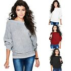 New Fashion Women Casual Long Batwing Sleeve Boat Neck Solid Sweater B20E