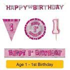 AGE 1 - Happy 1st Birthday PINK GLITZ - Party Balloons, Banners & Decorations