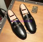 Mens Fashion Metal Europe Round Toe Low Heel Slip On Loafer Shoes Casual New Sz