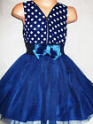 GIRLS DARK BLUE POLKA DOT CHIFFON TULLE BOW TRIM SPECIAL OCCASION PARTY DRESS