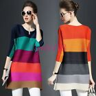 Spring Womens Casual Pleated Tops Mixed Color 3/4 Sleeve Loose Fashion Dress New