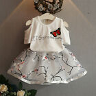 2pcs Kids Toddler Baby Girl T-shirt+Floral Skirt Dress Party Clothes Set Outfit
