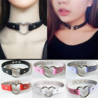 Womens Favorite Punk Goth Leather Rivet Heart Ring Collar Choker Funky Necklace