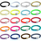 Stainless Steel Magnetic Buckle PU Leather Wrap Wristband Rhinestone Bracelet