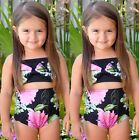 Kids Girls Two-Pieces Bow Bikini Bandage Swimsuit Swimwear Bathing Suit Age 2-7Y