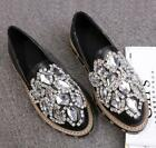 Luxury Women's Rhinestones Crystal Pull On Loafers Platform Flat Casual Shoes