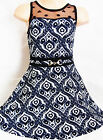 GIRLS 50s STYLE NAVY BLUE WHITE BAROQUE PRINT LACE CONTRAST SKATER PARTY DRESS